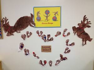 footprint reindeer (and 2 holiday friends- Mario and Toad the reindeer)