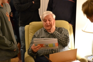 priceless face made when he opened the book we made for him and Yiayia