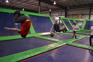 Chris and I flipping across each other's trampolines