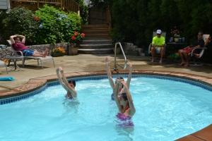 LAMA Land doing synchronized swimming